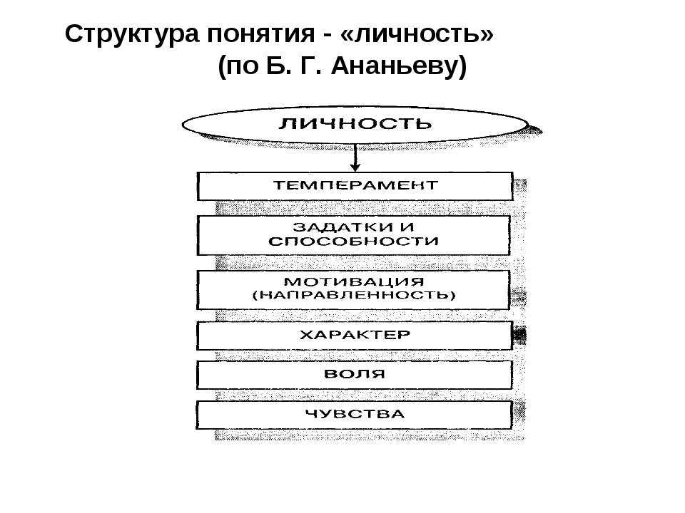 Структура понятия - «личность» (по Б. Г. Ананьеву)