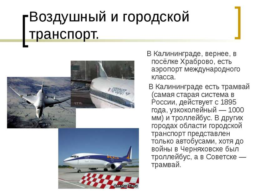 Воздушный и городской транспорт. В Калининграде, вернее, в посёлке Храброво, ...