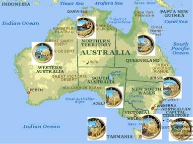 На щите изображены элементы гербов шести штатов, входящих в Австралийский Сою...