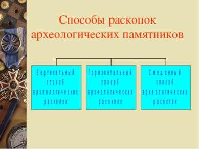 Способы раскопок археологических памятников