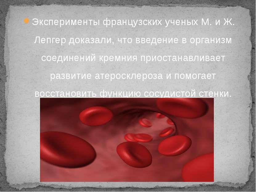 Эксперименты французских ученых М. и Ж. Лепгер доказали, что введение в орган...
