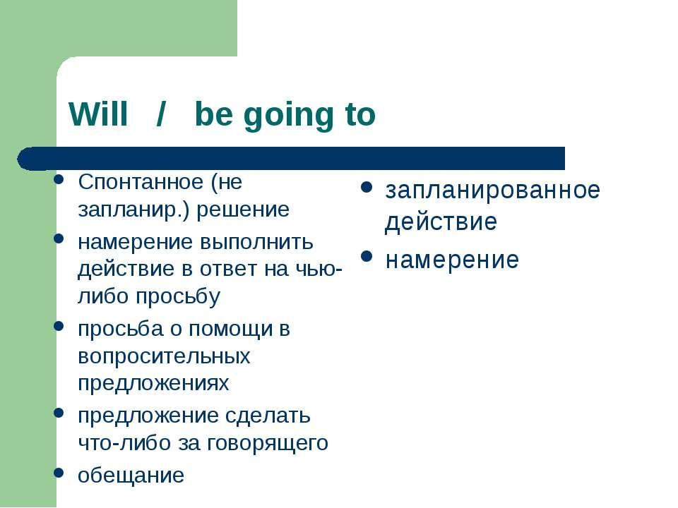 Will / be going to Спонтанное (не запланир.) решение намерение выполнить дейс...
