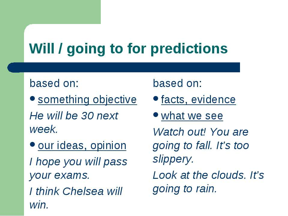 Will / going to for predictions based on: something objective He will be 30 n...