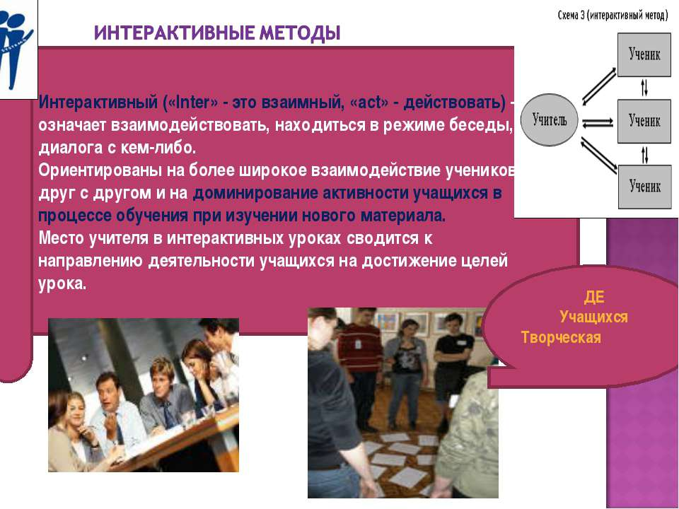 Интерактивный («Inter» - это взаимный, «act» - действовать) – означает взаимо...
