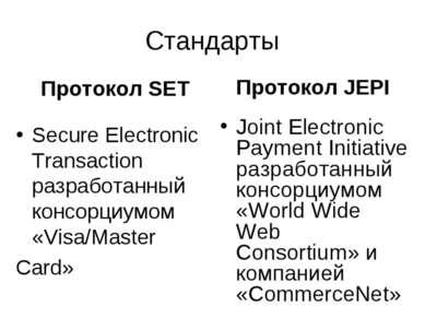 Стандарты Протокол SET Secure Electronic Transaction разработанный консорциум...