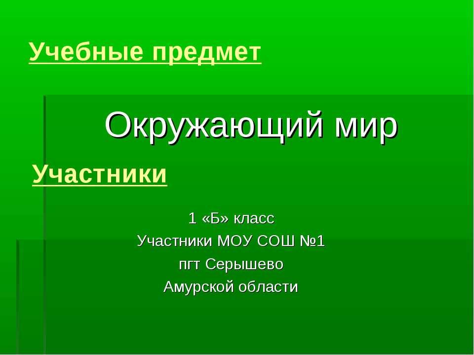 Учебные предмет Окружающий мир Участники 1 «Б» класс Участники МОУ СОШ №1 пгт...