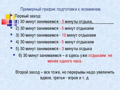 Примерный график подготовки к экзаменам. Первый заход: :1) 30 минут занимаемс...
