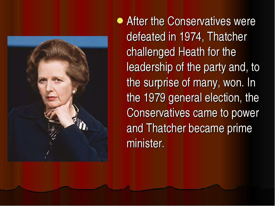 After the Conservatives were defeated in 1974, Thatcher challenged Heath for ...