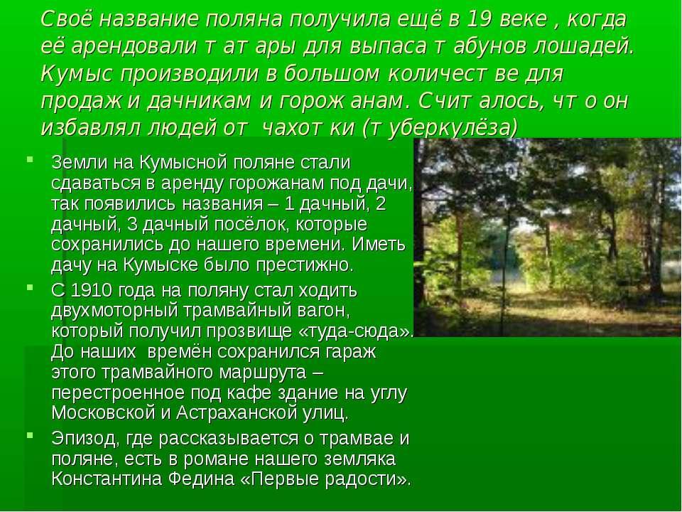 Своё название поляна получила ещё в 19 веке , когда её арендовали татары для ...