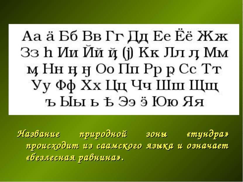Название природной зоны «тундра» происходит из саамского языка и означает «бе...