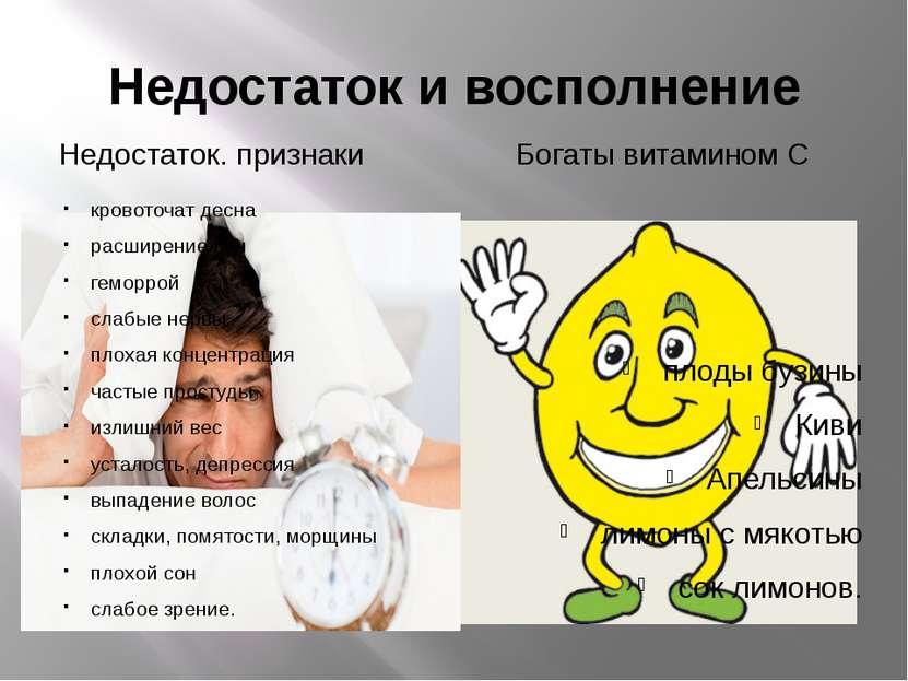 Недостаток и восполнение Недостаток. признаки Богаты витамином С кровоточат д...