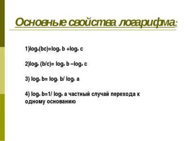 Основные свойства логарифма: 1)loga(bc)=loga b +loga c 2)loga (b/c)= loga b –...