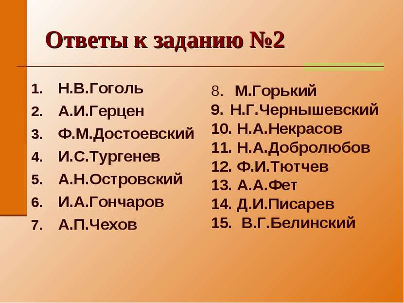 Ответы к заданию №2 Н.В.Гоголь А.И.Герцен Ф.М.Достоевский И.С.Тургенев А.Н.Ос...