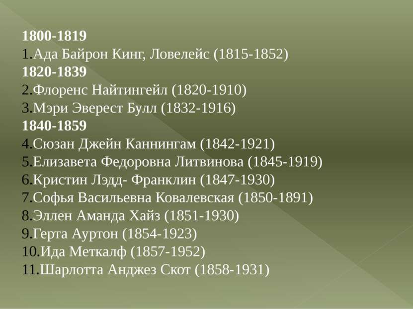 1800-1819 Ада Байрон Кинг, Ловелейс (1815-1852) 1820-1839 Флоренс Найтингейл ...