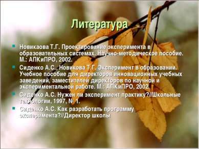 Литература Новикаова Т.Г. Проектирование эксперимента в образовательных систе...