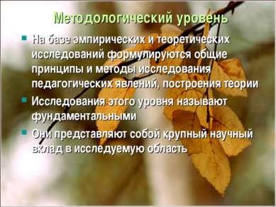 Методологический уровень На базе эмпирических и теоретических исследований фо...