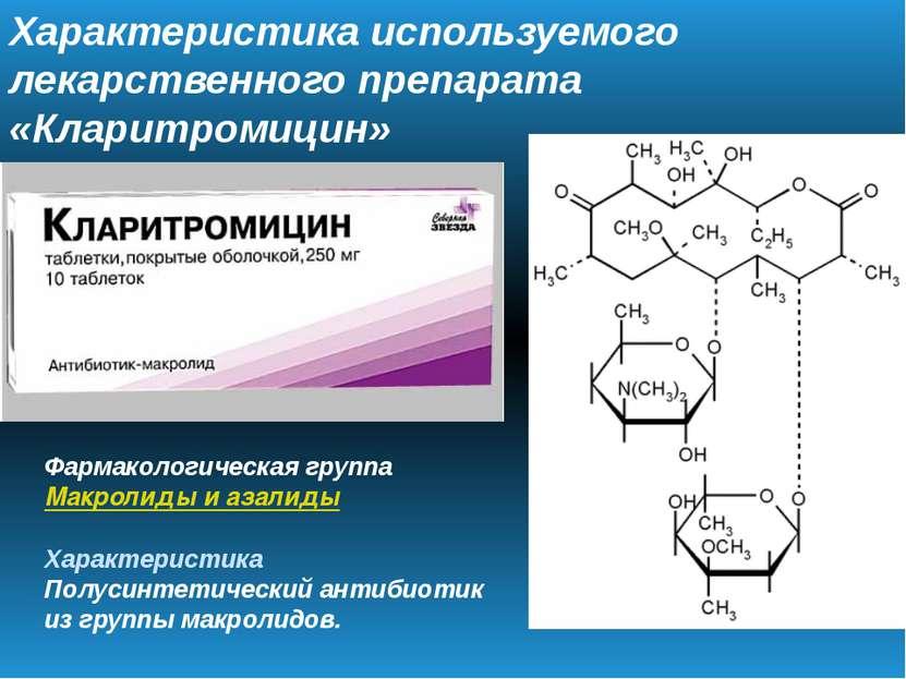 Характеристика используемого лекарственного препарата «Кларитромицин» Фармако...