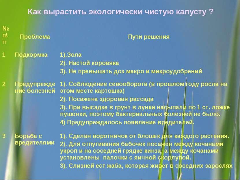 Как вырастить экологически чистую капусту ? № п\п Проблема Пути решения 1 Под...