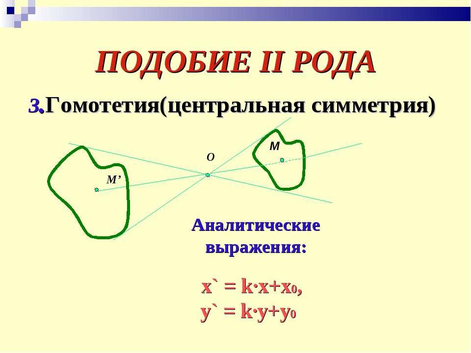ПОДОБИЕ II РОДА 3.Гомотетия(центральная симметрия) О М М' Аналитические выраж...