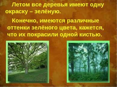 Летом все деревья имеют одну окраску – зелёную. Конечно, имеются различные от...