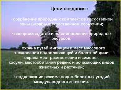 Цели создания : ·сохранение природных комплексов лесостепной зоны Барабы в е...