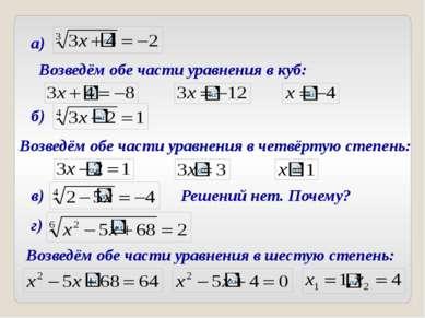 Возведём обе части уравнения в куб: а) б) Возведём обе части уравнения в четв...