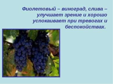 Фиолетовый – виноград, слива – улучшает зрение и хорошо успокаивает при трево...