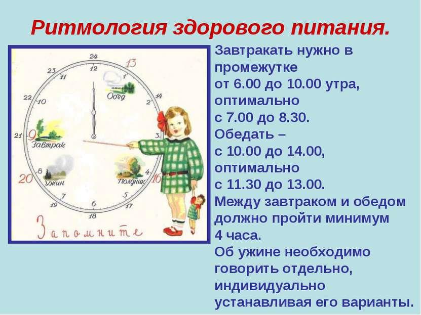 Ритмология здорового питания. Завтракать нужно в промежутке от 6.00 до 10.00 ...