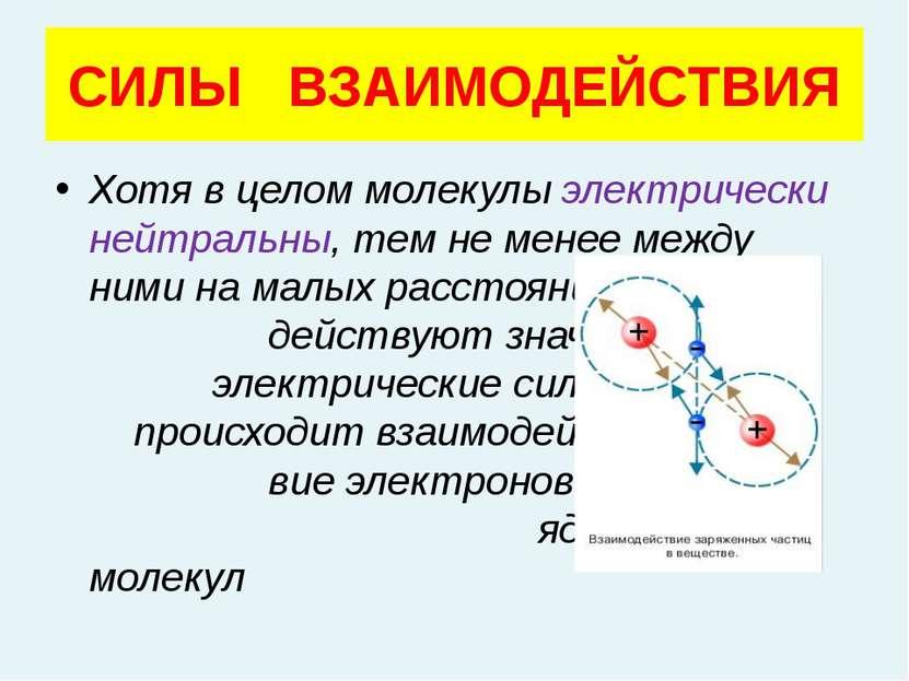 Хотя в целом молекулы электрически нейтральны, тем не менее между ними на мал...