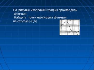На рисунке изображён график производной функции. Найдите точку максимума функ...