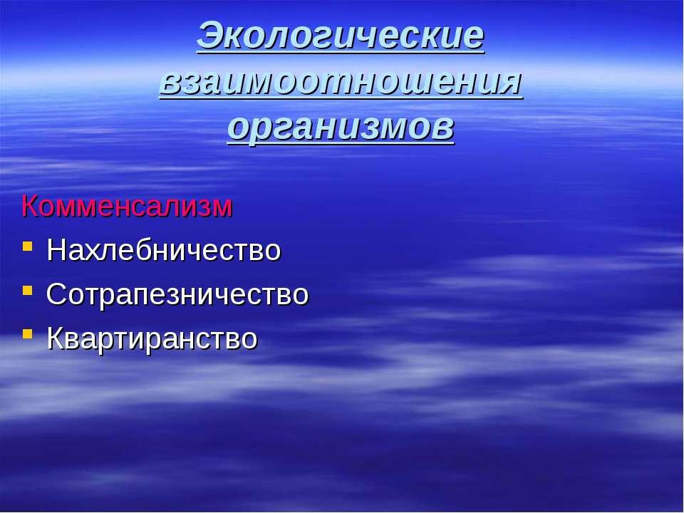 Экологические взаимоотношения организмов Комменсализм Нахлебничество Сотрапез...