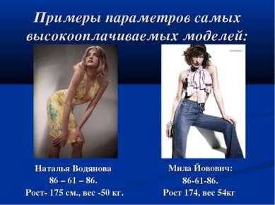 Примеры параметров самых высокооплачиваемых моделей: Наталья Водянова 86 – 61...