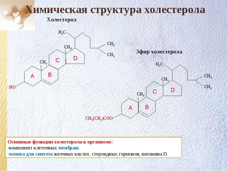 Химическая структура холестерола D C B A Основные функции холестерола в орган...