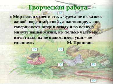 Творческая работа « Мир полон чудес и это… чудеса не в сказке о живой воде и ...