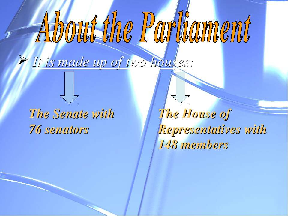 It is made up of two houses: The Senate with 76 senators The House of Represe...