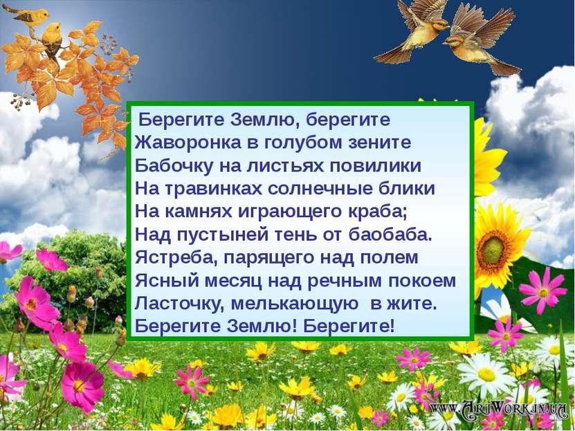 Берегите Землю, берегите Жаворонка в голубом зените Бабочку на листьях повил...