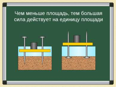 Чем меньше площадь, тем большая сила действует на единицу площади