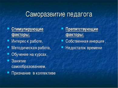Саморазвитие педагога Стимулирующие факторы: Интерес к работе, Методическая р...