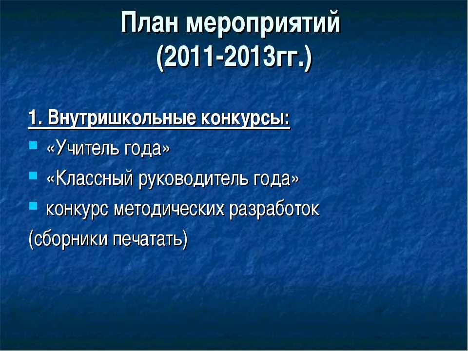 План мероприятий (2011-2013гг.) 1. Внутришкольные конкурсы: «Учитель года» «К...