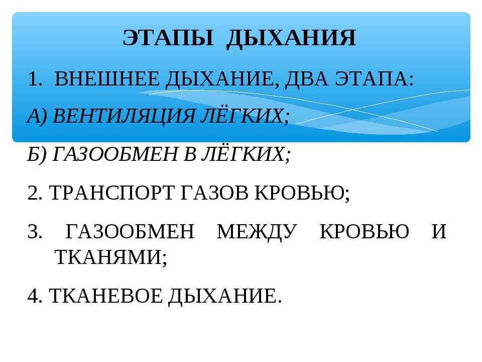 ЭТАПЫ ДЫХАНИЯ ВНЕШНЕЕ ДЫХАНИЕ, ДВА ЭТАПА: А) ВЕНТИЛЯЦИЯ ЛЁГКИХ; Б) ГАЗООБМЕН ...