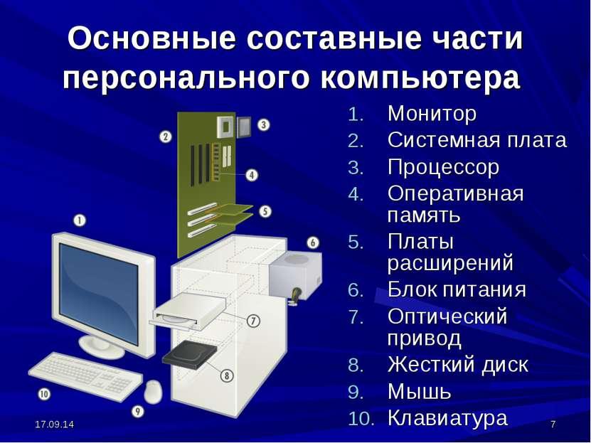 * * Основные составные части персонального компьютера Монитор Системная плата...
