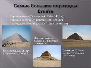 Пирамида Хеопса (IV династия): 230м (146,6 м); Пирамида Хефрена (IV династ...