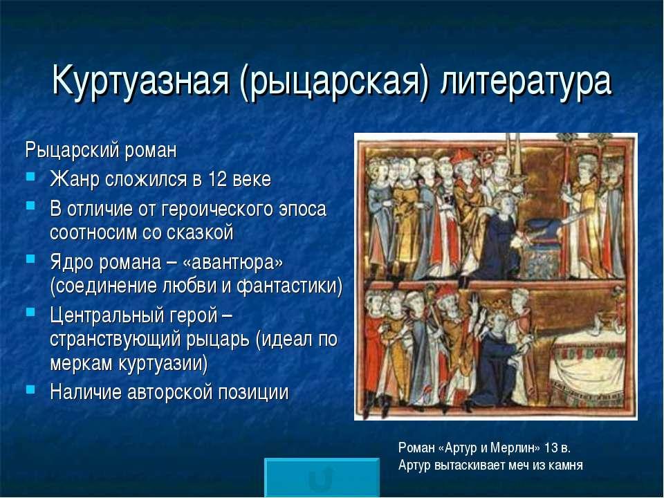 Куртуазная (рыцарская) литература Рыцарский роман Жанр сложился в 12 веке В о...