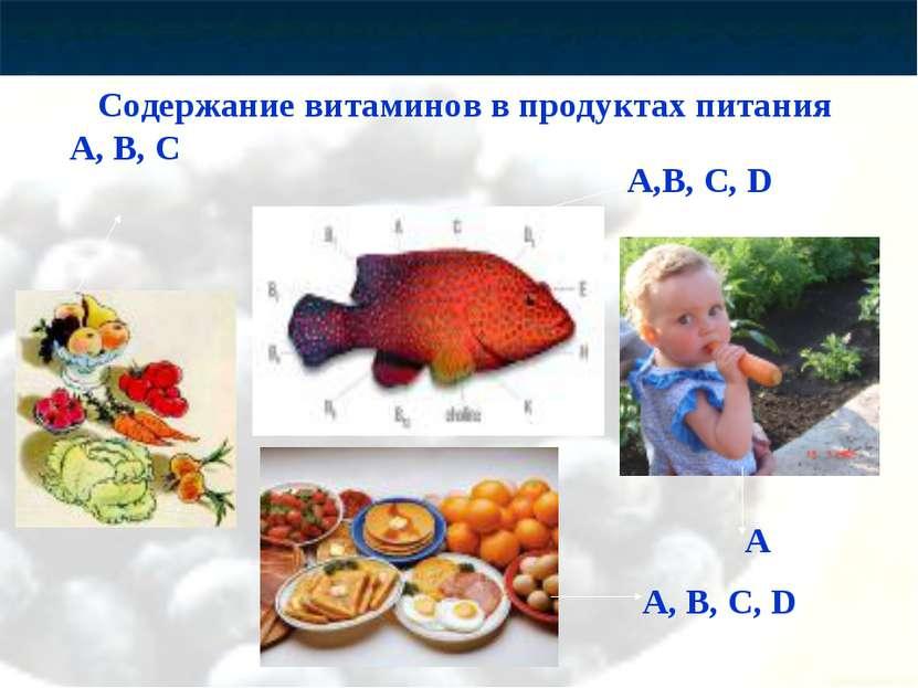 * Земскова Е.А. Содержание витаминов в продуктах питания А, В, С А А, В, С, D...