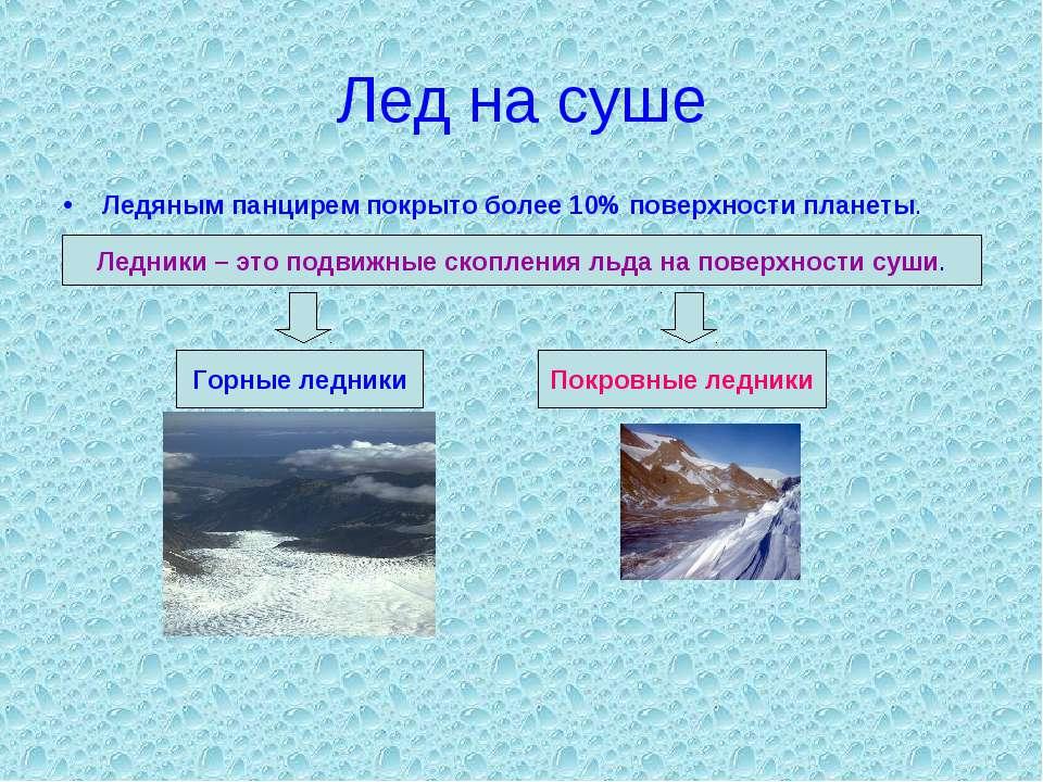 Лед на суше Ледяным панцирем покрыто более 10% поверхности планеты. Ледники –...