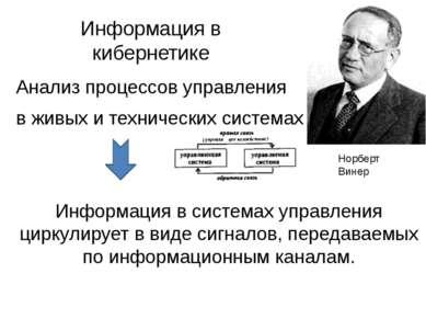 Информация в кибернетике Анализ процессов управления в живых и технических си...