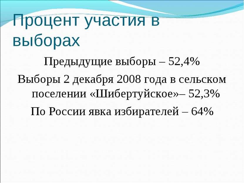 Процент участия в выборах Предыдущие выборы – 52,4% Выборы 2 декабря 2008 год...