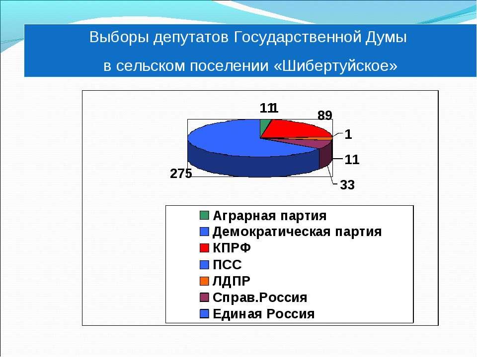 Выборы депутатов Государственной Думы в сельском поселении «Шибертуйское»