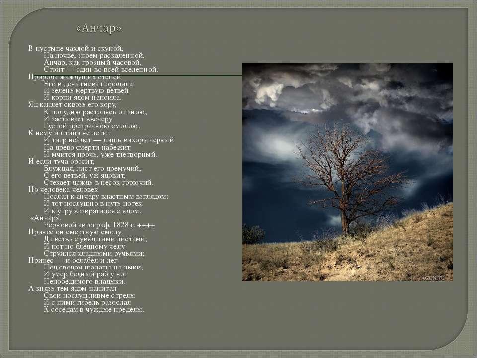 В пустыне чахлой и скупой, На почве, зноем раскаленной, Анчар, как грозный ча...