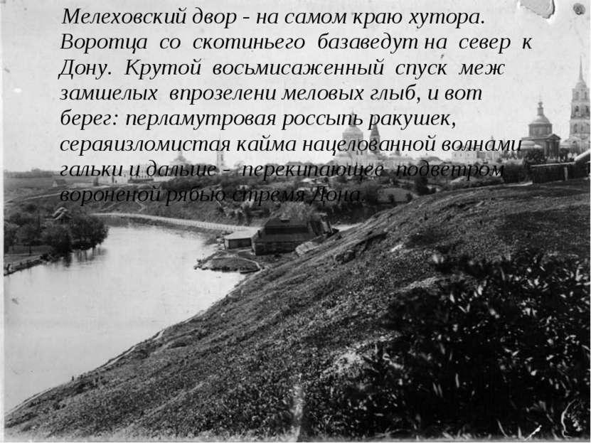 Мелеховский двор - на самом краю хутора. Воротца со скотиньего базаведут на с...